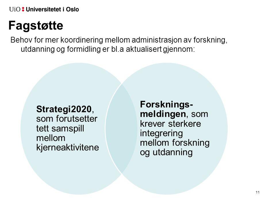 Fagstøtte Behov for mer koordinering mellom administrasjon av forskning, utdanning og formidling er bl.a aktualisert gjennom: 11 Strategi2020, som for