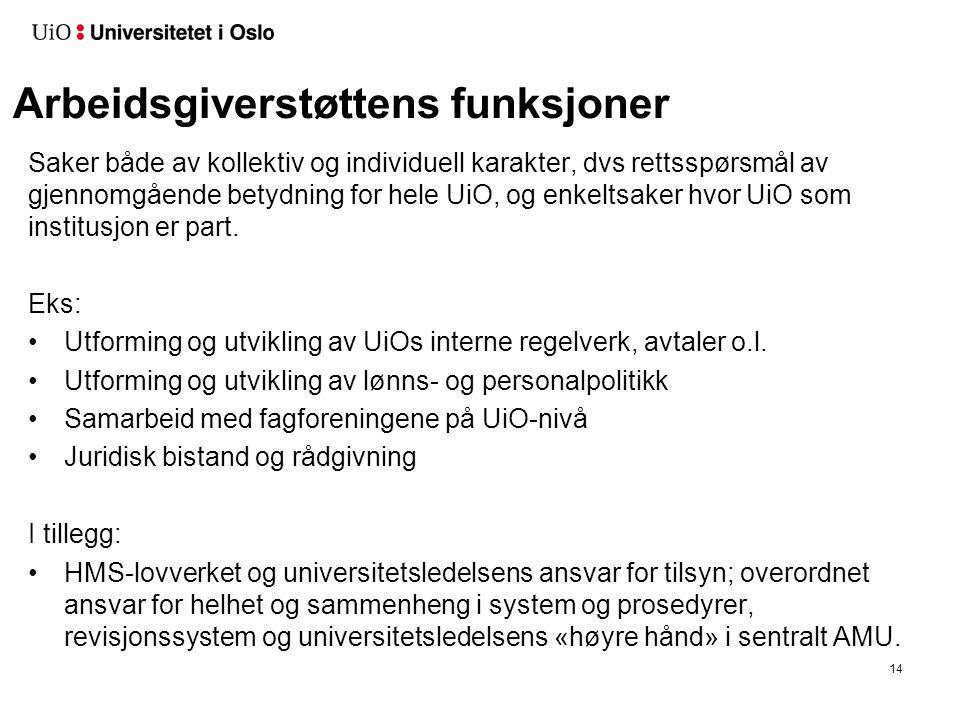 Arbeidsgiverstøttens funksjoner 14 Saker både av kollektiv og individuell karakter, dvs rettsspørsmål av gjennomgående betydning for hele UiO, og enkeltsaker hvor UiO som institusjon er part.
