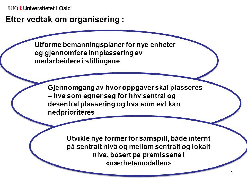 16 Etter vedtak om organisering : Utforme bemanningsplaner for nye enheter og gjennomføre innplassering av medarbeidere i stillingene Gjennomgang av h