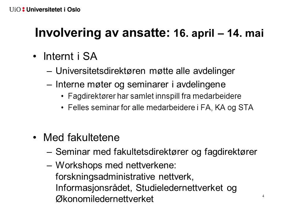 Intern administrasjon Enhet direkte underlagt universitetsdirektøren, med følgende brukergrupper:.