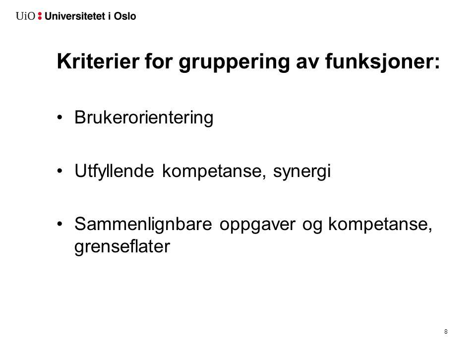 Kriterier for gruppering av funksjoner: Brukerorientering Utfyllende kompetanse, synergi Sammenlignbare oppgaver og kompetanse, grenseflater 8