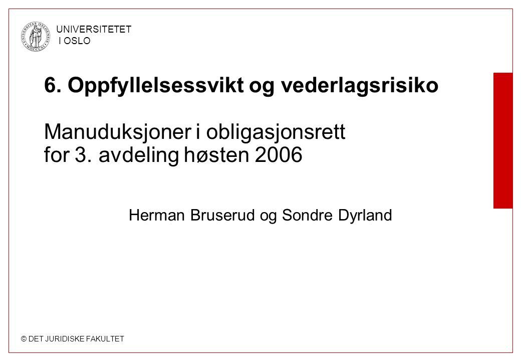 © DET JURIDISKE FAKULTET UNIVERSITETET I OSLO 6. Oppfyllelsessvikt og vederlagsrisiko Manuduksjoner i obligasjonsrett for 3. avdeling høsten 2006 Herm