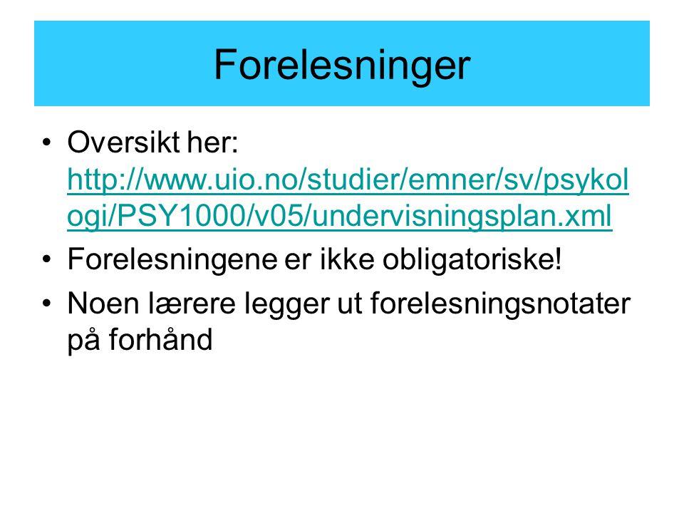 Skriveseminarer Tid og sted: http://www.uio.no/studier/emner/sv/psykol ogi/PSY1000/v05/tid-og-sted.xml http://www.uio.no/studier/emner/sv/psykol ogi/PSY1000/v05/tid-og-sted.xml Meld dere på i Harald Schjelderups hus, Forskningsveien 3 Seminarene er ikke obligatoriske!