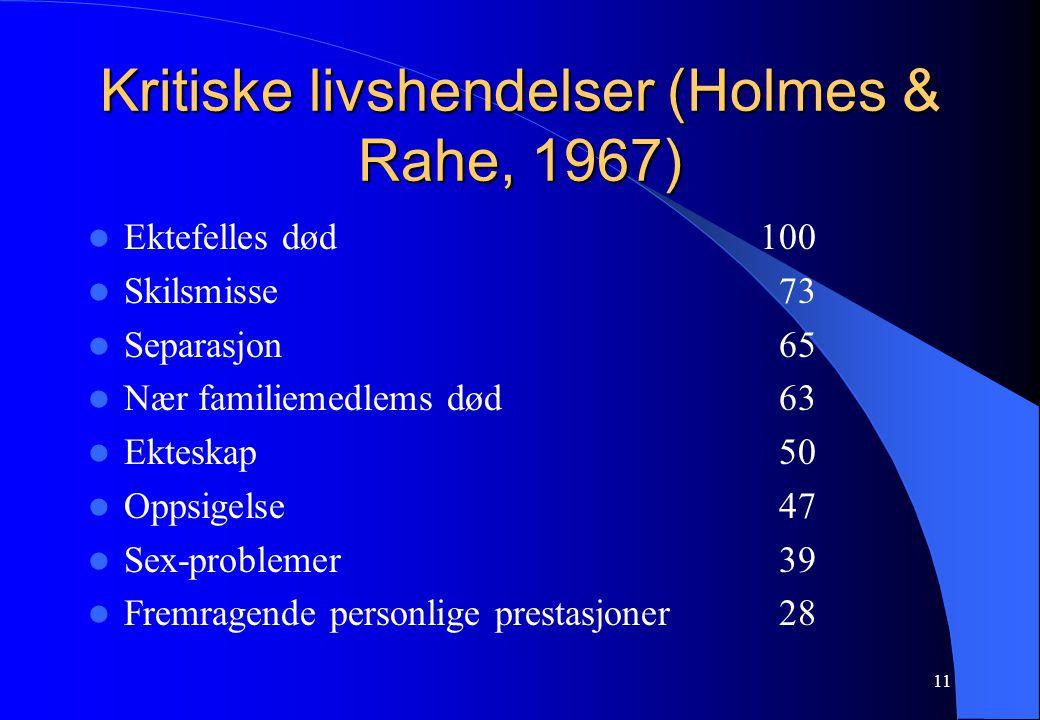 11 Kritiske livshendelser (Holmes & Rahe, 1967) Ektefelles død100 Skilsmisse 73 Separasjon 65 Nær familiemedlems død 63 Ekteskap 50 Oppsigelse 47 Sex-