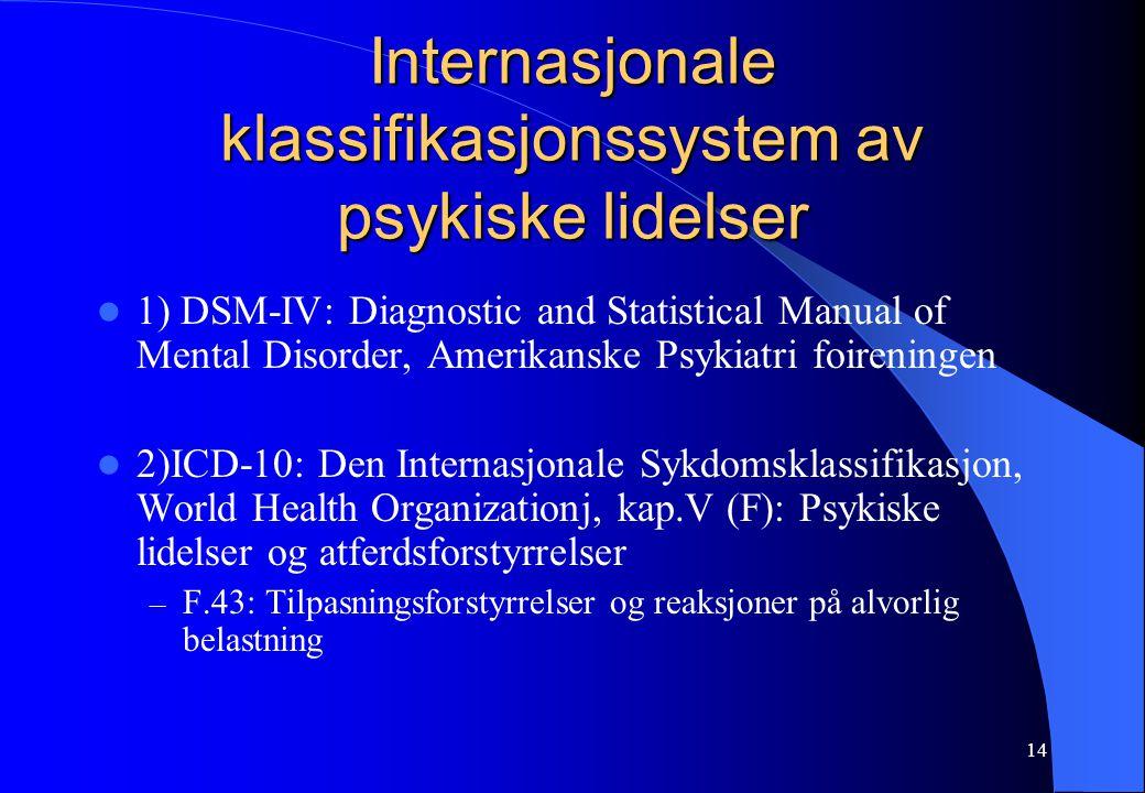 14 Internasjonale klassifikasjonssystem av psykiske lidelser 1) DSM-IV: Diagnostic and Statistical Manual of Mental Disorder, Amerikanske Psykiatri fo