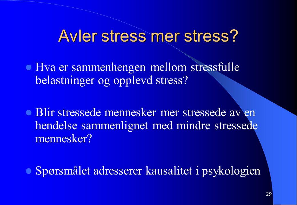 29 Avler stress mer stress? Hva er sammenhengen mellom stressfulle belastninger og opplevd stress? Blir stressede mennesker mer stressede av en hendel