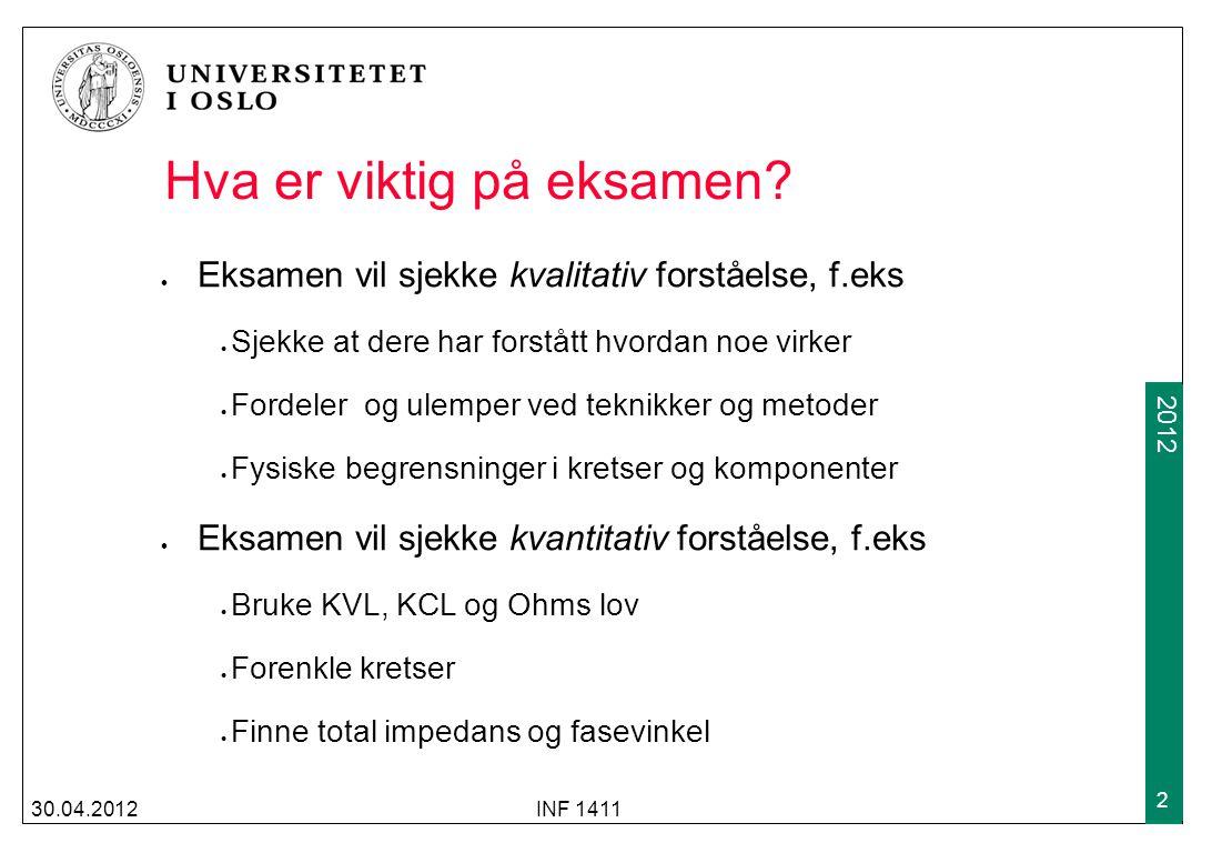2009 2012 30.04.2012INF 1411 2 Hva er viktig på eksamen.
