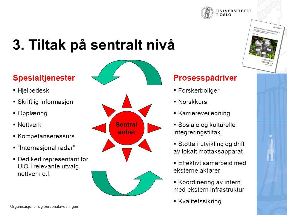 Organisasjons- og personalavdelingen 3. Tiltak på sentralt nivå Spesialtjenester  Hjelpedesk  Skriftlig informasjon  Opplæring  Nettverk  Kompeta
