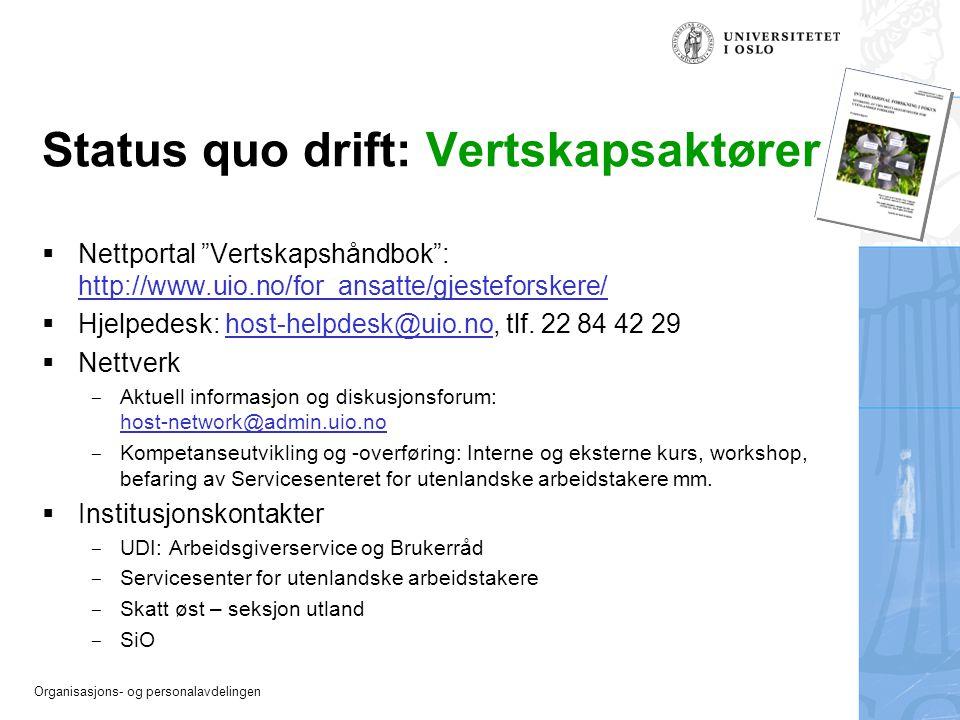 """Organisasjons- og personalavdelingen Status quo drift: Vertskapsaktører  Nettportal """"Vertskapshåndbok"""": http://www.uio.no/for_ansatte/gjesteforskere/"""