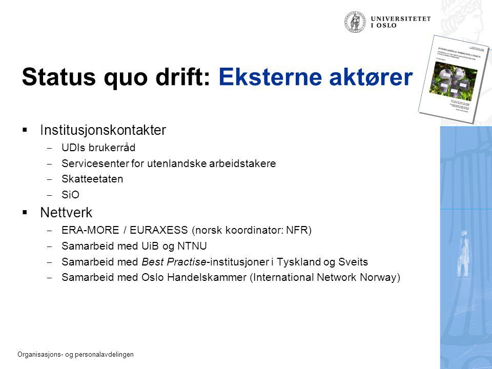 Organisasjons- og personalavdelingen Status quo drift: Eksterne aktører  Institusjonskontakter  UDIs brukerråd  Servicesenter for utenlandske arbei