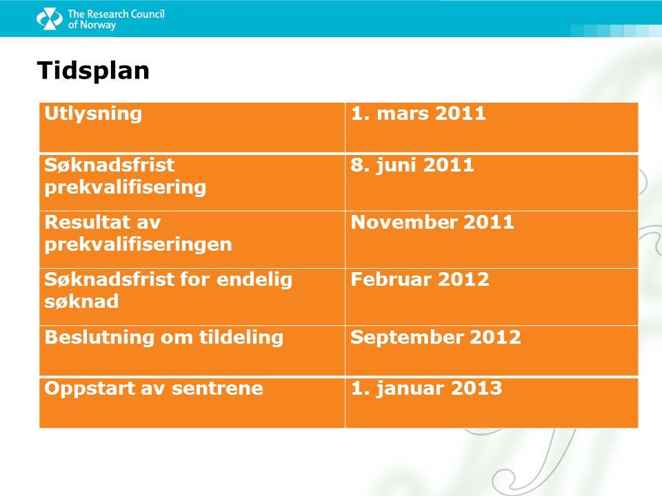 Tidsplan Utlysning1.mars 2011 Søknadsfrist prekvalifisering 8.