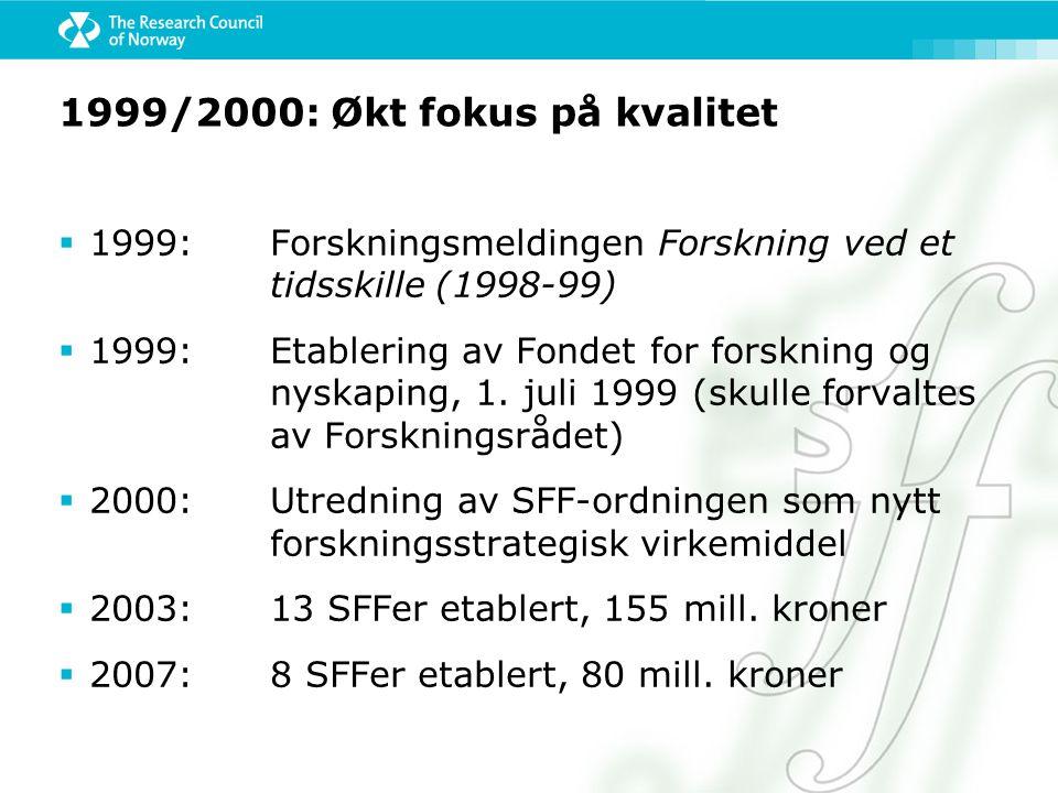 1999/2000: Økt fokus på kvalitet  1999: Forskningsmeldingen Forskning ved et tidsskille (1998-99)  1999:Etablering av Fondet for forskning og nyskaping, 1.