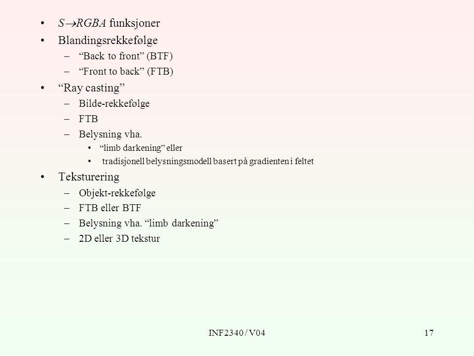 INF2340 / V0417 S  RGBA funksjoner Blandingsrekkefølge – Back to front (BTF) – Front to back (FTB) Ray casting –Bilde-rekkefølge –FTB –Belysning vha.