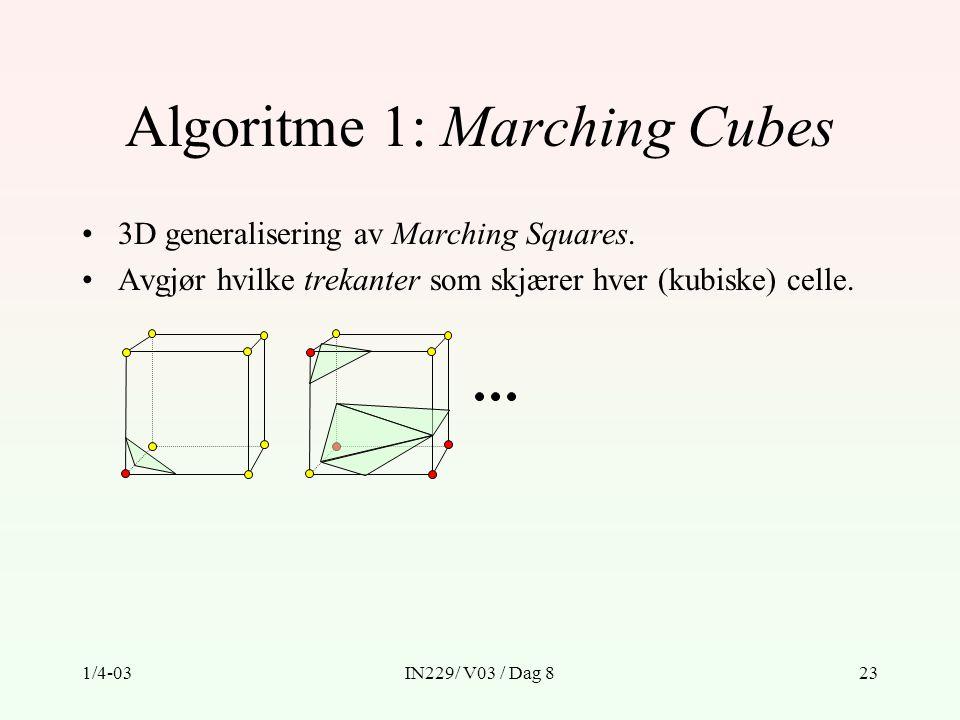1/4-03IN229/ V03 / Dag 823 Algoritme 1: Marching Cubes 3D generalisering av Marching Squares.