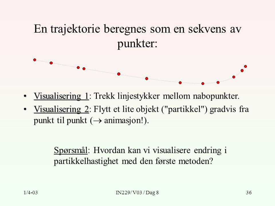 1/4-03IN229/ V03 / Dag 836 En trajektorie beregnes som en sekvens av punkter: Visualisering 1Visualisering 1: Trekk linjestykker mellom nabopunkter.