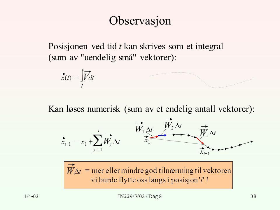 1/4-03IN229/ V03 / Dag 838 Observasjon Posisjonen ved tid t kan skrives som et integral (sum av uendelig små vektorer): x(t) = V dt t Kan løses numerisk (sum av et endelig antall vektorer): x i+1 = x 1 + W j  t  j = 1 i W 1  t x i+1 W 2  t x1x1 Wi tWi t = mer eller mindre god tilnærming til vektoren vi burde flytte oss langs i posisjon i .