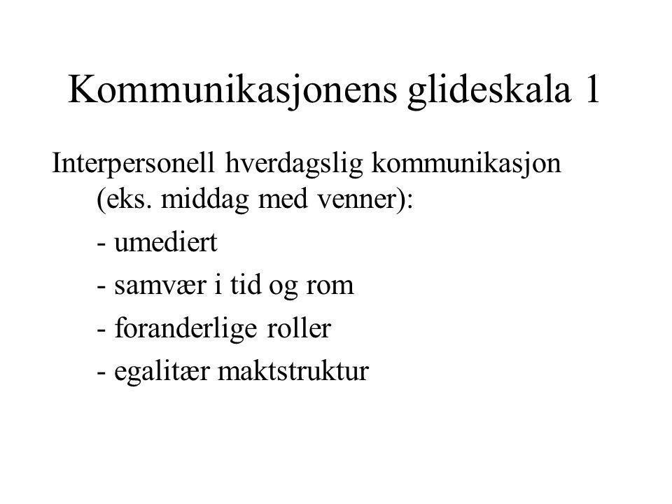 Kommunikasjonens glideskala 1 Interpersonell hverdagslig kommunikasjon (eks. middag med venner): - umediert - samvær i tid og rom - foranderlige rolle
