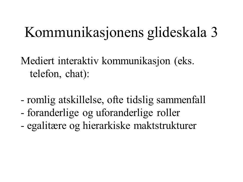 Kommunikasjonens glideskala 3 Mediert interaktiv kommunikasjon (eks.