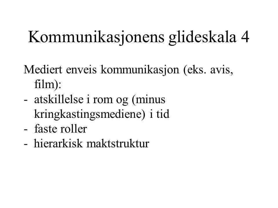Kommunikasjonens glideskala 4 Mediert enveis kommunikasjon (eks. avis, film): -atskillelse i rom og (minus kringkastingsmediene) i tid -faste roller -