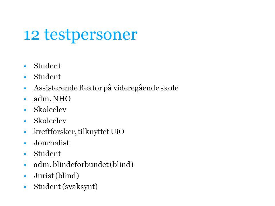 12 testpersoner Student Assisterende Rektor på videregående skole adm. NHO Skoleelev kreftforsker, tilknyttet UiO Journalist Student adm. blindeforbun