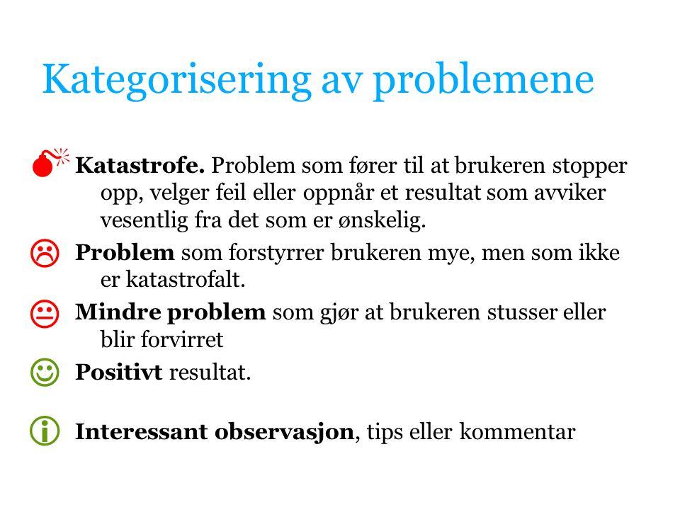 Kategorisering av problemene Katastrofe. Problem som fører til at brukeren stopper opp, velger feil eller oppnår et resultat som avviker vesentlig fra