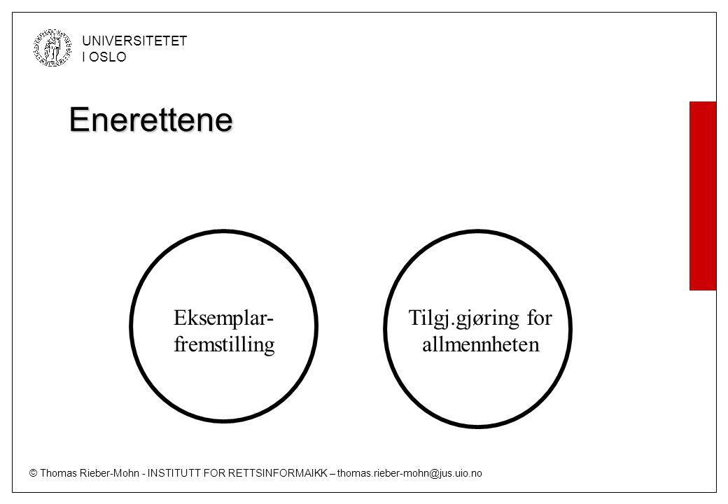 © Thomas Rieber-Mohn - INSTITUTT FOR RETTSINFORMAIKK – thomas.rieber-mohn@jus.uio.no UNIVERSITETET I OSLO Enerettene Eksemplar- fremstilling Tilgj.gjøring for allmennheten Lenking (?) Privat fremføring (f.eks.