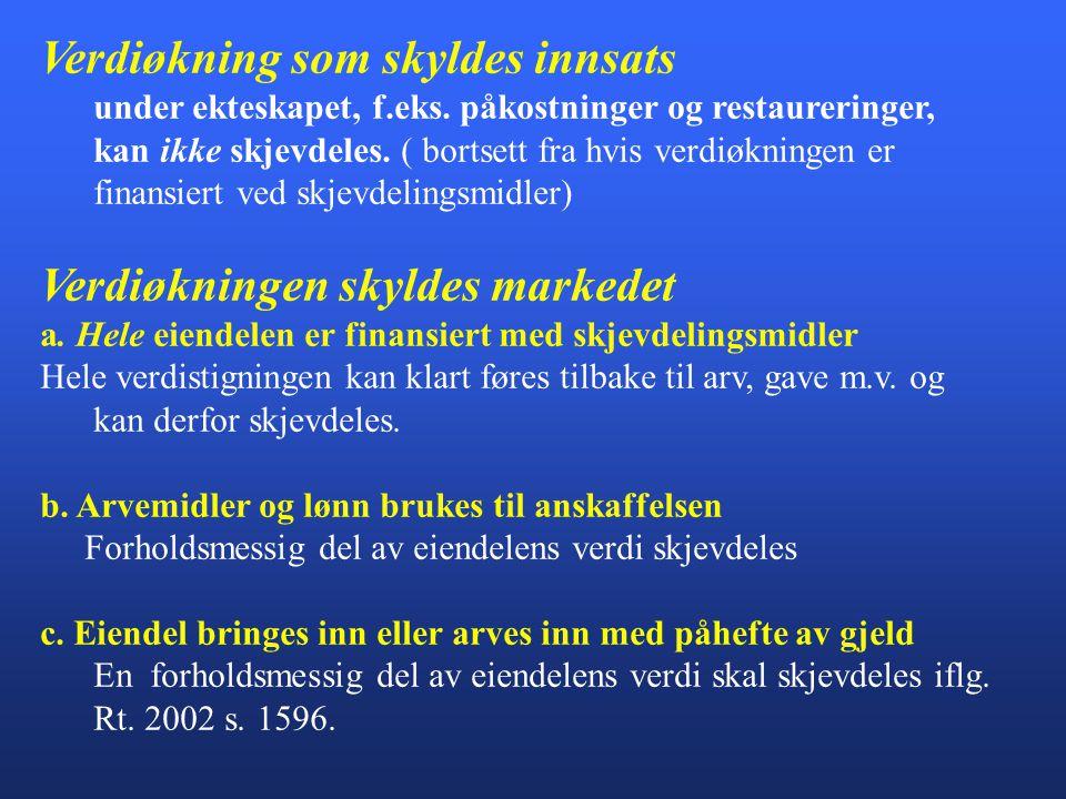 Egenkapital ved ekteskapsinngåelsen Lånefinansiert ved ekteskapsinngåelsen Skjevdeles Skjevdeles ikke - Rt.
