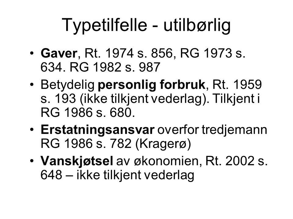 Typetilfelle - utilbørlig Gaver, Rt.1974 s. 856, RG 1973 s.