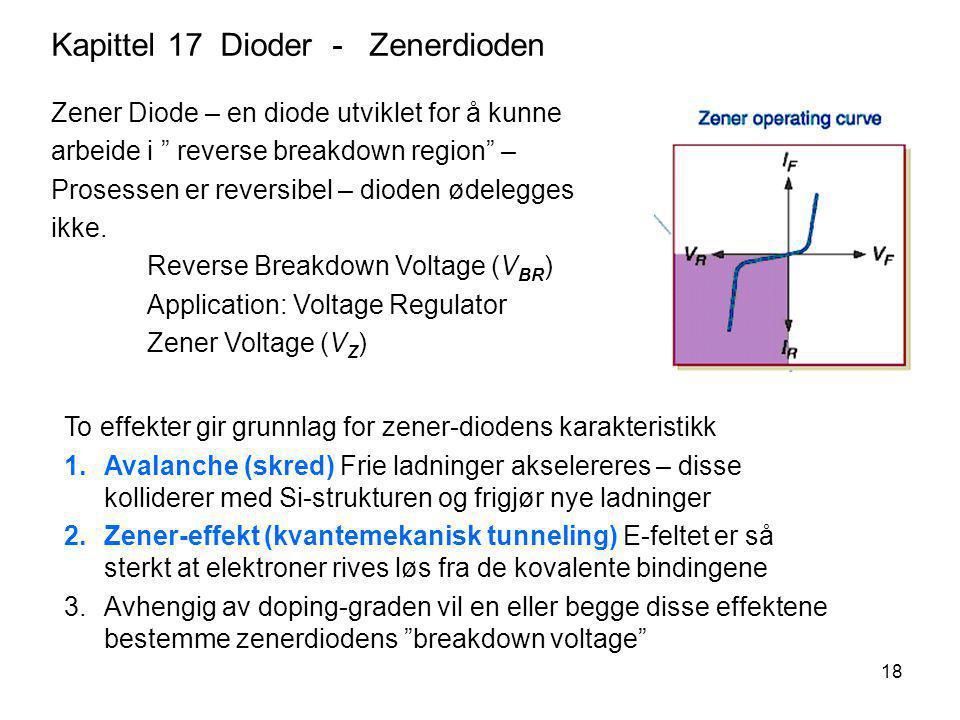 18 Kapittel 17 Dioder - Zenerdioden To effekter gir grunnlag for zener-diodens karakteristikk 1.Avalanche (skred) Frie ladninger akselereres – disse k