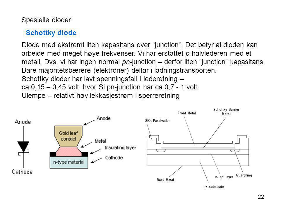 """22 Spesielle dioder Schottky diode Diode med ekstremt liten kapasitans over """"junction"""". Det betyr at dioden kan arbeide med meget høye frekvenser. Vi"""