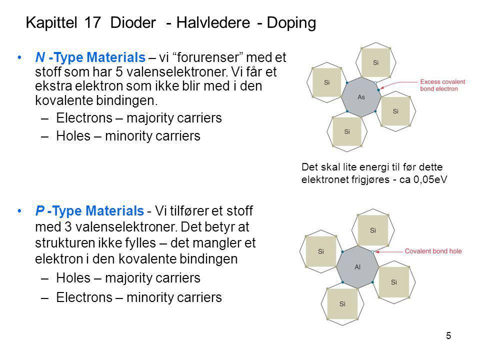"""5 Kapittel 17 Dioder - Halvledere - Doping N -Type Materials – vi """"forurenser"""" med et stoff som har 5 valenselektroner. Vi får et ekstra elektron som"""