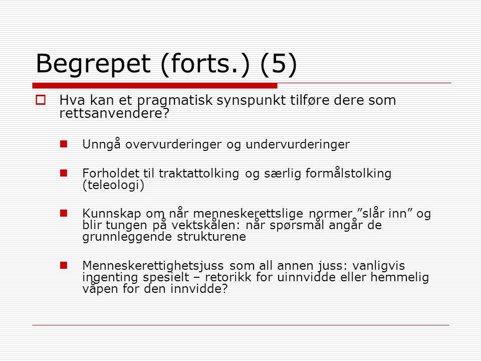 Begrepet (forts.) (5)  Hva kan et pragmatisk synspunkt tilføre dere som rettsanvendere? Unngå overvurderinger og undervurderinger Forholdet til trakt