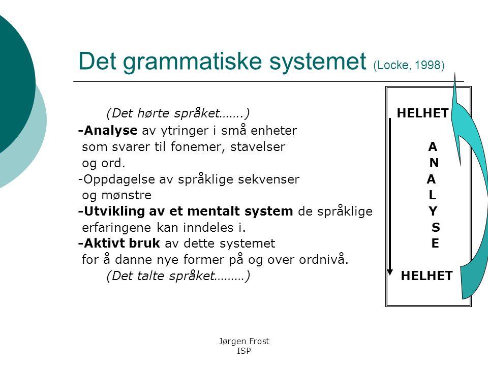 From sounds to words to grammer Språklig bevissthet ? Jørgen Frost ISP