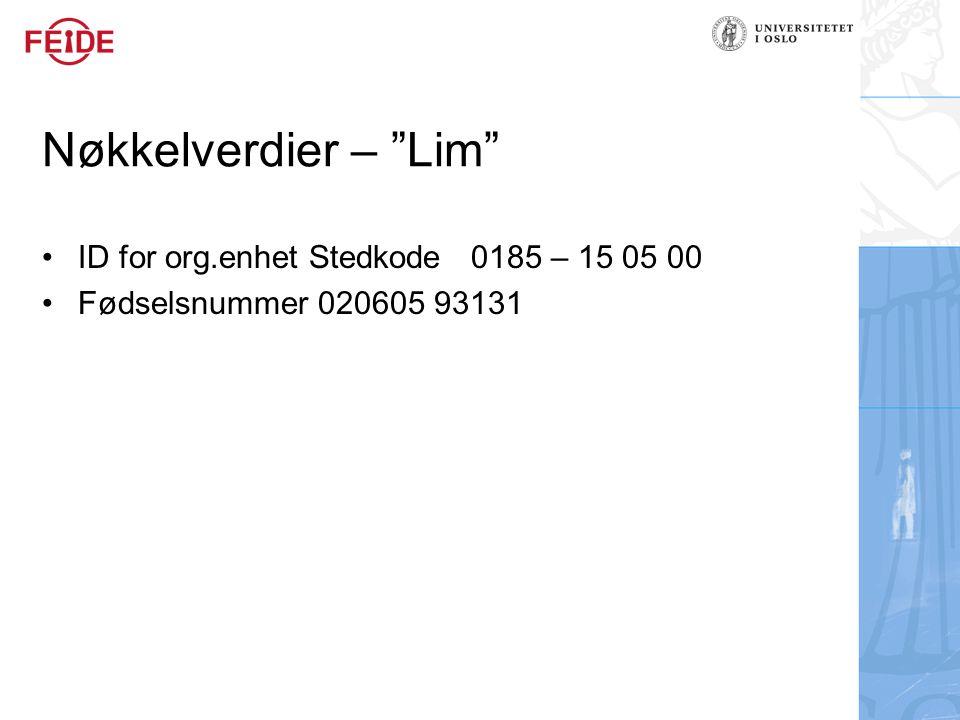 Nøkkelverdier – Lim ID for org.enhet Stedkode 0185 – 15 05 00 Fødselsnummer 020605 93131
