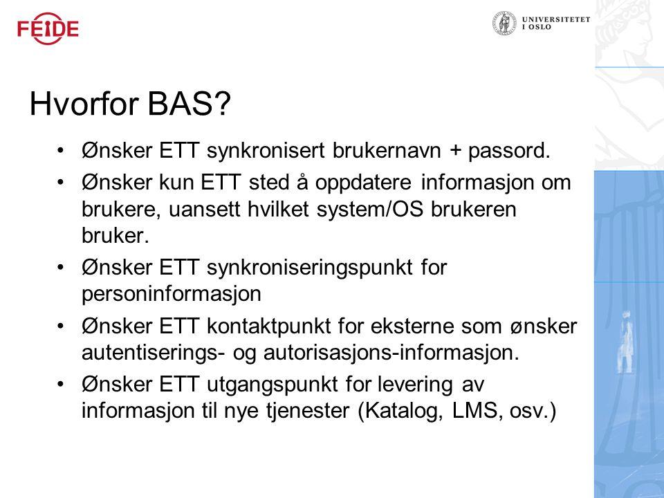 Hvorfor BAS.Ønsker ETT synkronisert brukernavn + passord.