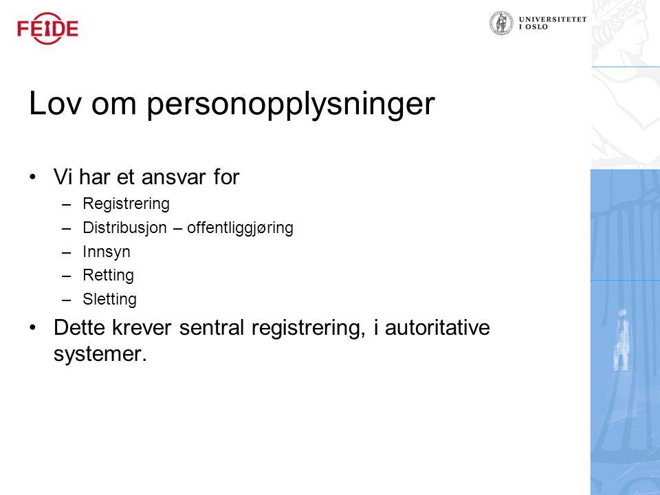 Lov om personopplysninger Vi har et ansvar for –Registrering –Distribusjon – offentliggjøring –Innsyn –Retting –Sletting Dette krever sentral registrering, i autoritative systemer.