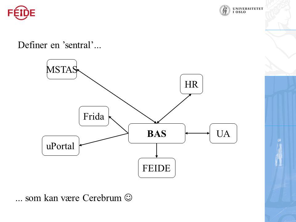BAS MSTAS HR Frida UA FEIDE uPortal Definer en 'sentral'...... som kan være Cerebrum