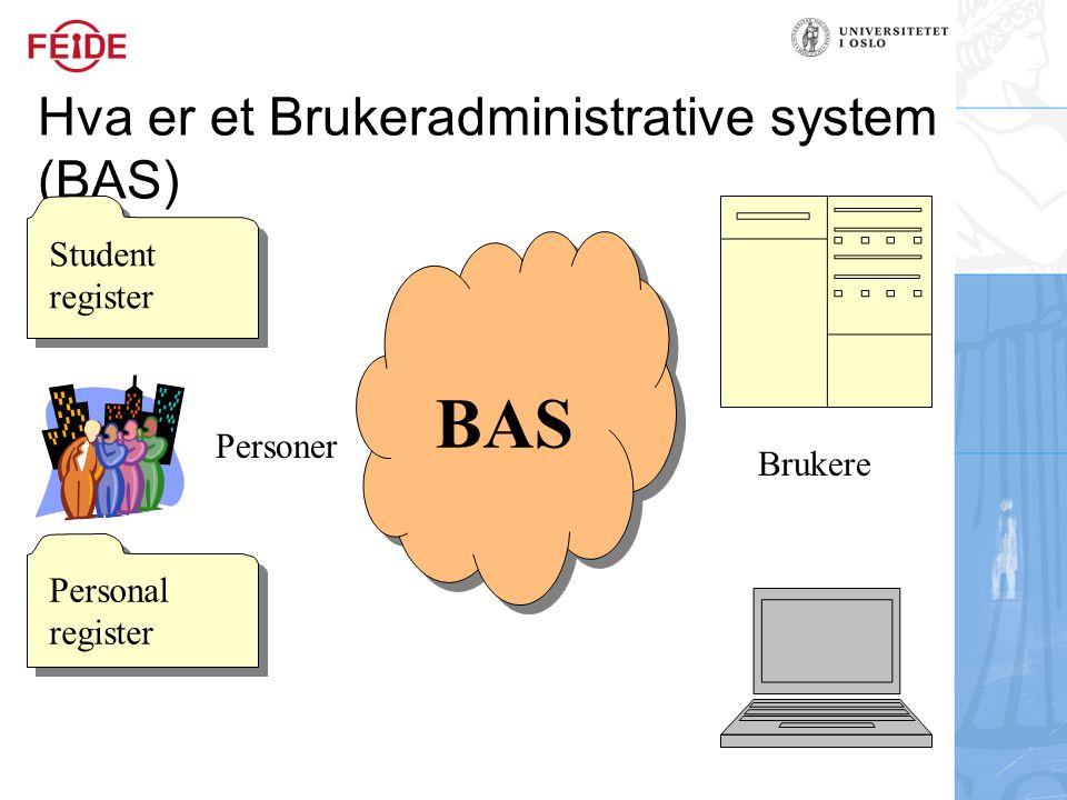 Hva er et Brukeradministrative system (BAS) Student register Student register Personal register BAS Personer Brukere