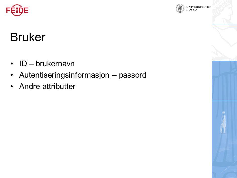 Bruker ID – brukernavn Autentiseringsinformasjon – passord Andre attributter