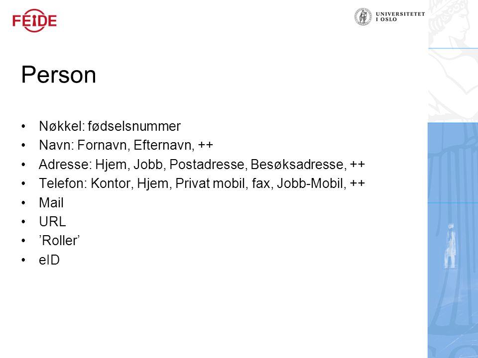 Person Nøkkel: fødselsnummer Navn: Fornavn, Efternavn, ++ Adresse: Hjem, Jobb, Postadresse, Besøksadresse, ++ Telefon: Kontor, Hjem, Privat mobil, fax, Jobb-Mobil, ++ Mail URL 'Roller' eID
