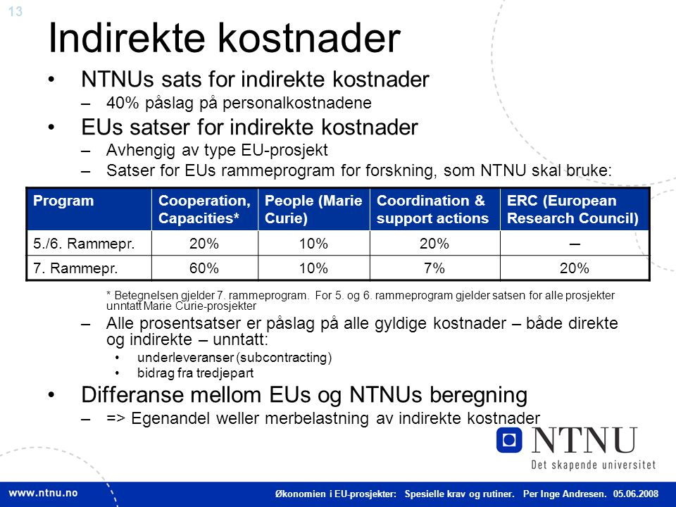 13 Indirekte kostnader NTNUs sats for indirekte kostnader –40% påslag på personalkostnadene EUs satser for indirekte kostnader –Avhengig av type EU-pr