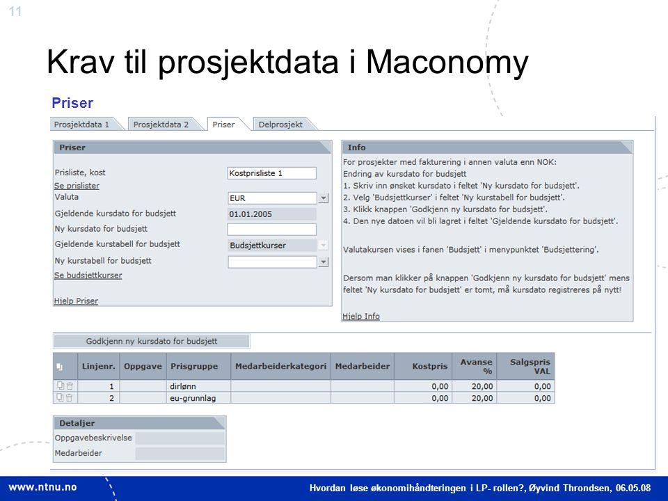 11 Krav til prosjektdata i Maconomy Indirekte kostnader Priser Hvordan løse økonomihåndteringen i LP- rollen?, Øyvind Throndsen, 06.05.08
