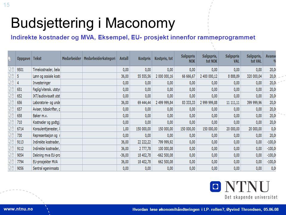15 Budsjettering i Maconomy Indirekte kostnader og MVA, Eksempel, EU- prosjekt innenfor rammeprogrammet Hvordan løse økonomihåndteringen i LP- rollen?