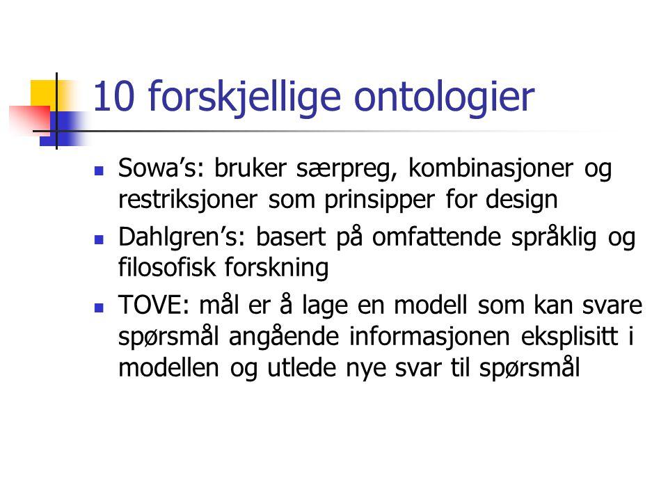 10 forskjellige ontologier Sowa's: bruker særpreg, kombinasjoner og restriksjoner som prinsipper for design Dahlgren's: basert på omfattende språklig