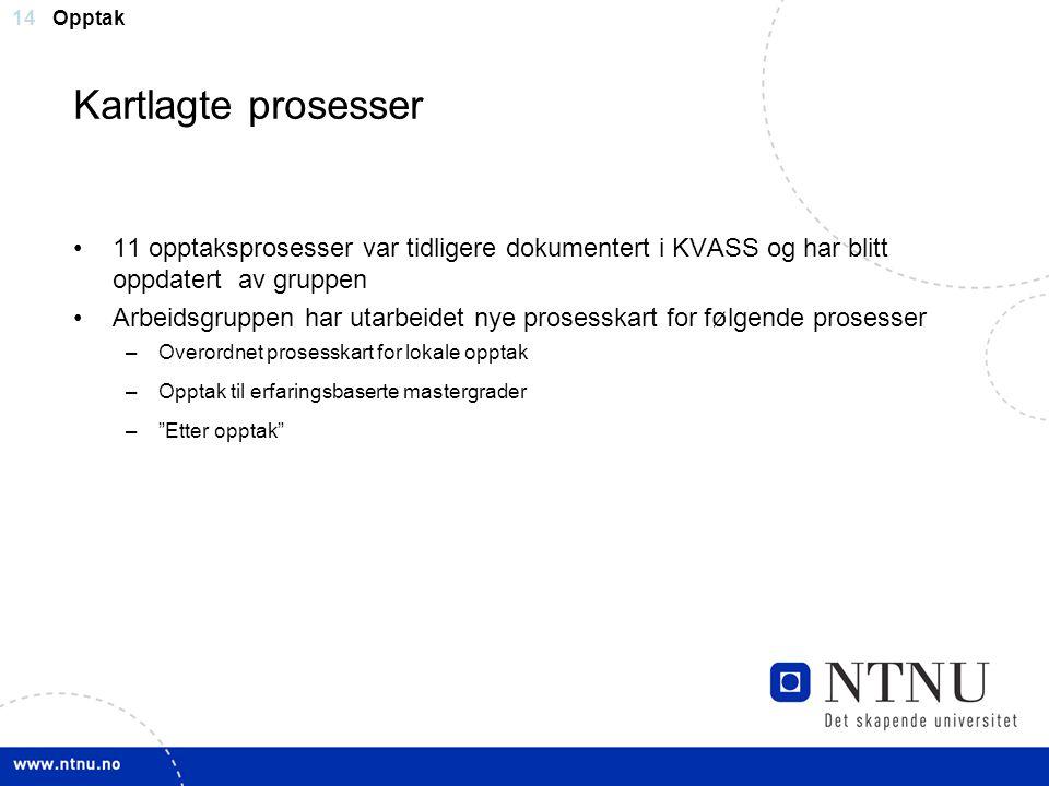 14 Kartlagte prosesser 11 opptaksprosesser var tidligere dokumentert i KVASS og har blitt oppdatert av gruppen Arbeidsgruppen har utarbeidet nye prose