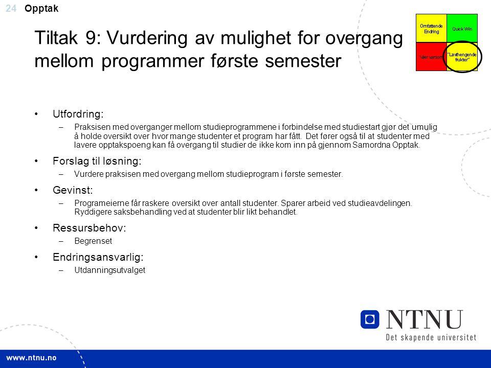 24 Tiltak 9: Vurdering av mulighet for overgang mellom programmer første semester Utfordring: –Praksisen med overganger mellom studieprogrammene i for