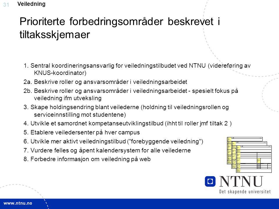 31 Prioriterte forbedringsområder beskrevet i tiltaksskjemaer 1. Sentral koordineringsansvarlig for veiledningstilbudet ved NTNU (videreføring av KNUS