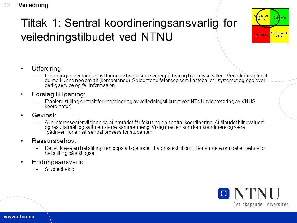 32 Tiltak 1: Sentral koordineringsansvarlig for veiledningstilbudet ved NTNU Utfordring: –Det er ingen overordnet avklaring av hvem som svarer på hva