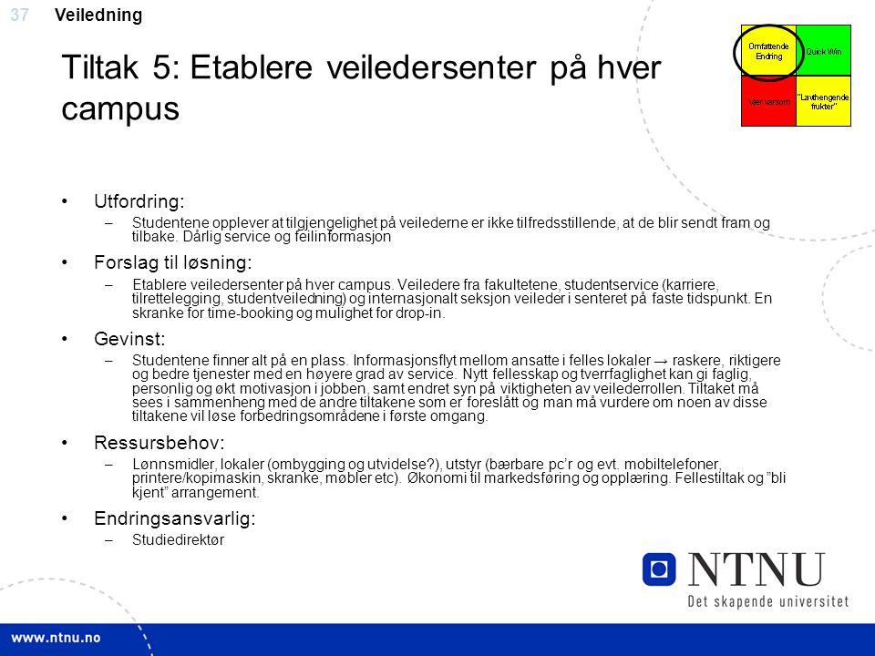 37 Tiltak 5: Etablere veiledersenter på hver campus Utfordring: –Studentene opplever at tilgjengelighet på veilederne er ikke tilfredsstillende, at de
