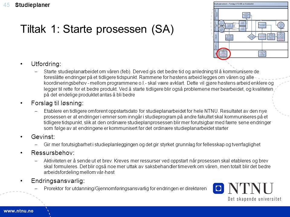 45 Tiltak 1: Starte prosessen (SA) Studieplaner Utfordring: –Starte studieplanarbeidet om våren (feb). Derved gis det bedre tid og anledning til å kom